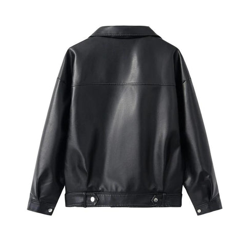 Black PU Soft Faux Leather Long Sleeve Turn-down Collar Women Jacket