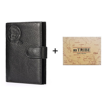 Genuine Leather Passcard Pockets Men Organizer Small Wallets