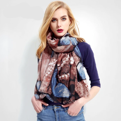 Butterfly Print Cotton Winter Fashion Women >175cm Scarfs Scarves
