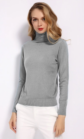 Winter Long Sleeve Turtleneck Office Lady Woolen Pullover Sweater
