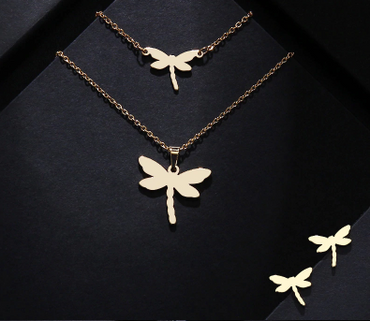 Dragonfly Shape Stainless Steel Women Jewelry Sets Necklace/Earrings/Bracelets