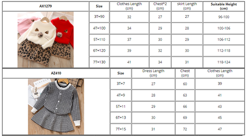 Winter Cat Print Long Sleeve O-Neck Girls Warm Top + Leopard Skirt Clothing Sets