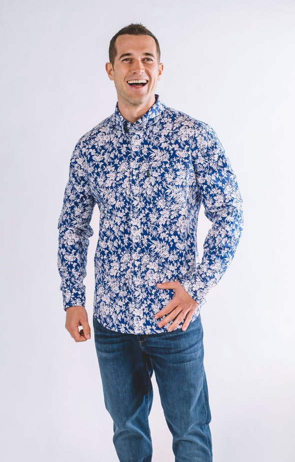 Bryant Casual Long Sleeve Shirt - Ice Blue - ATHLETIC FIT | B24