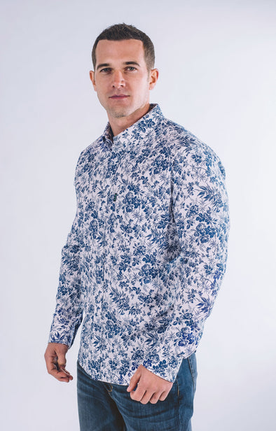 Bryant Casual Long Sleeve Shirt - Ice White - ATHLETIC FIT | B24
