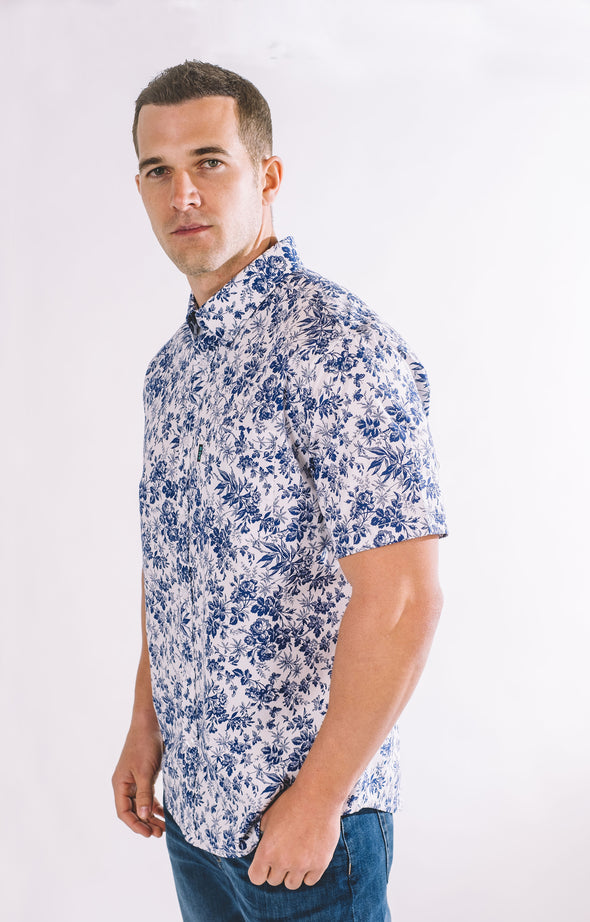 Bryant Casual Short Sleeve Shirt - Ice White - ATHLETIC FIT | B24