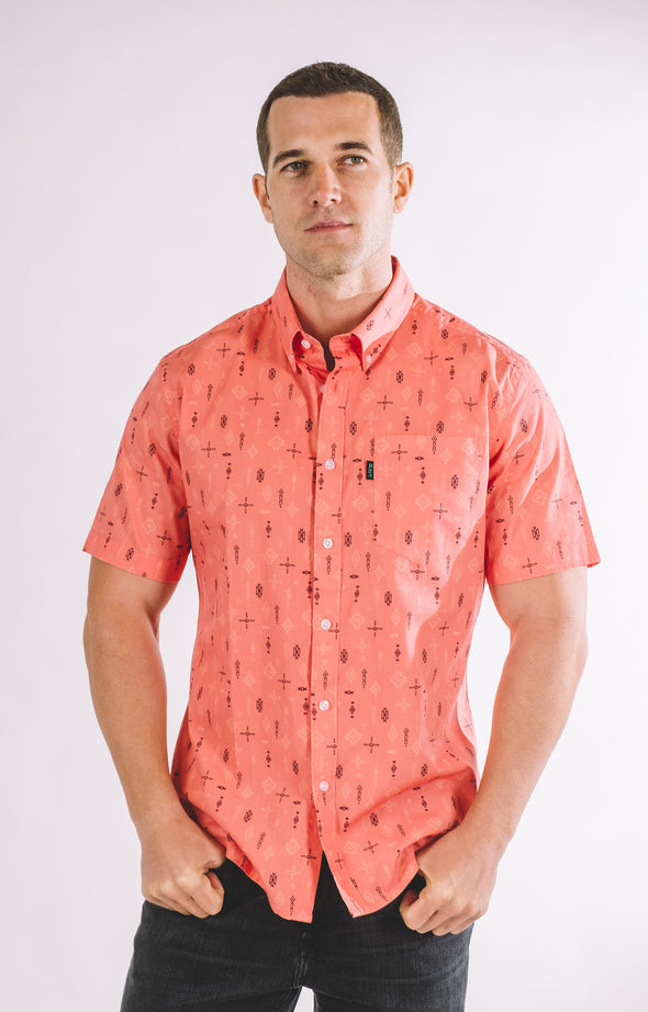 Rickey Casual Short Sleeve Shirt - Living Coral - ATHLETIC FIT | B24