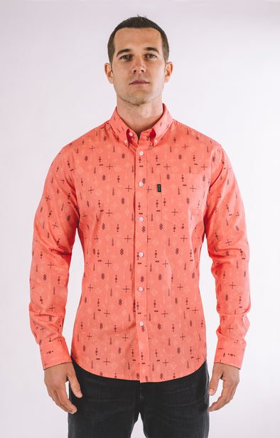 Rickey Casual Long Sleeve Shirt - Living Coral - ATHLETIC FIT | B24