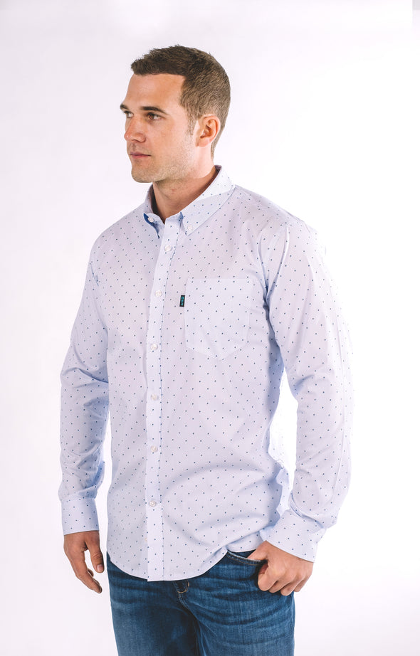 Howard Stripe Long Sleeve Shirt - Pale Blue - ATHLETIC FIT | B24