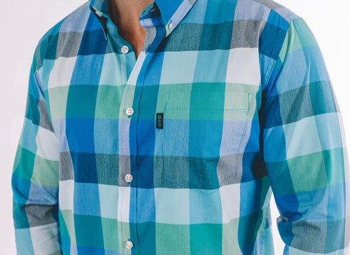 Manny Casual Long Sleeve Shirt - Turquoise Plaid - ATHLETIC FIT | B24
