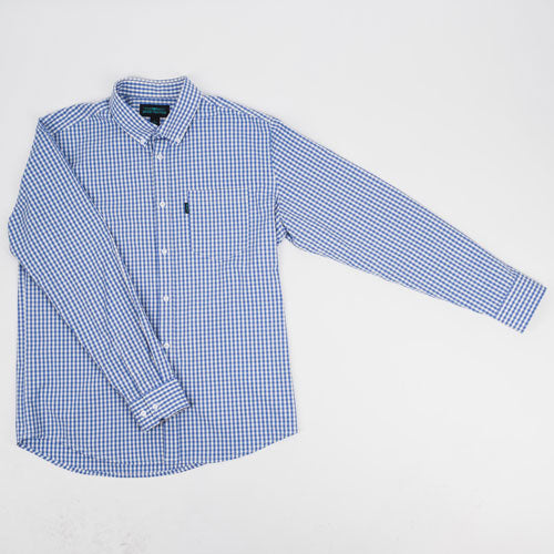 Mays Plaid Casual Long Sleeve Shirt - Sky Blue - ATHLETIC FIT | B24