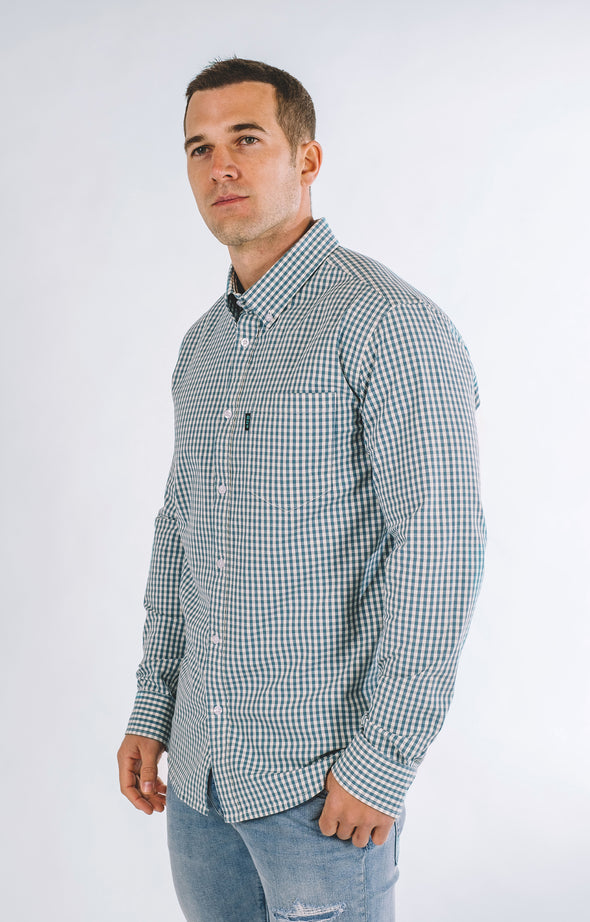 Mays Plaid Casual Long Sleeve Shirt - Teal - ATHLETIC FIT | B24