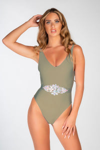 LUXE LYCRA JEWEL TIE WAIST SCOOP BACK SWIMSUIT - OTHER COLOURS LISTED