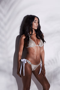 SILVER SEQUIN JEWEL TRIM TRIANGLE BIKINI