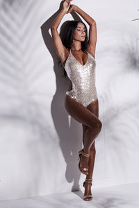 FULL NUDE PLUNGE SEQUIN CUT OUT MONOKINI