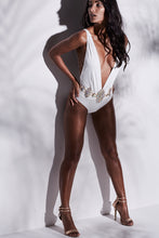 Load image into Gallery viewer, WHITE LACE BACK PLUNGE SWIMSUIT