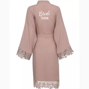 EMILIA MATT SATIN LACE TRIM ROBE - personalisation available