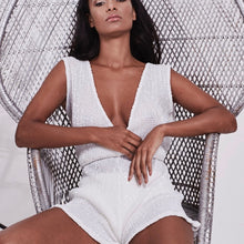 Load image into Gallery viewer, WHITE SEQUIN V FRONT & BACK PLAYSUIT