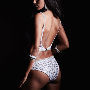 silver animal jewelled swimsuit