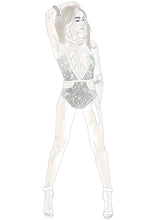 Load image into Gallery viewer, SILVER JEWEL TRIM ANIMAL SEQUIN SWIMSUIT