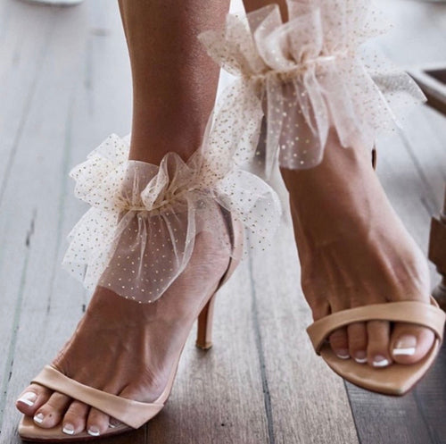 FLOR BARELY THERE HEEL (WITH RIBBON TIE MESH ANKLE CUFF)