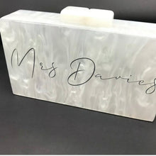 Load image into Gallery viewer, WIFEY / MRS SEASHELL ACRYLIC BOX CLUTCH BAG