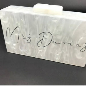 WIFEY / MRS SEASHELL ACRYLIC BOX CLUTCH BAG