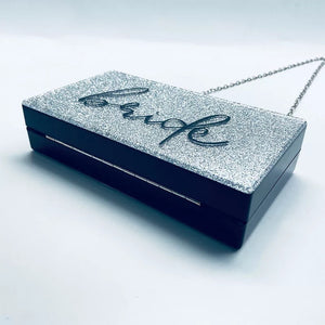 ALLANA BLACK/GREY GLITTER BRIDE ACRYLIC BOX CLUTCH BAG