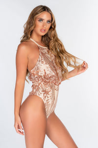 NUDE BAGGED HALTER SEQUIN CUT OUT BACK SWIMSUIT