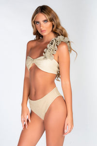 SAMPLE - GOLD SPARKLE RUFFLE SHOULDER BIKINI