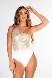 WHITE RIBBED & GOLD LUREX ONE SHOULDER ASSYMETRIC BELTED SWIMSUIT