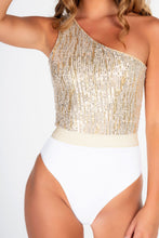 Load image into Gallery viewer, SAMPLES - WHITE RIBBED & GOLD LUREX ONE SHOULDER ASSYMETRIC BELTED SWIMSUIT