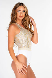 WHITE RIBBED & GOLD LUREX ONE SHOULDER ASSYMETRIC BELTED SWIMSUIT (pre-order listing)