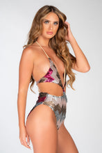 Load image into Gallery viewer, ZIGZAG SEQUIN CUT OUT HIGH WAIST SWIMSUIT