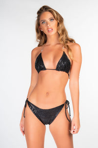 BLACK SEQUIN BARELY THERE TRIANGLE BIKINI
