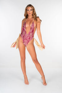 PINK DEEP PLUNGE SEQUIN WIDE TIE SWIMSUIT