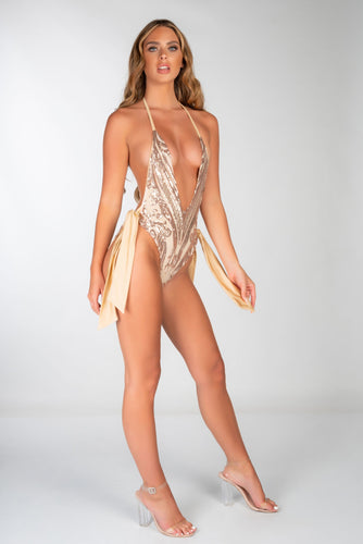 GOLD DEEP PLUNGE SEQUIN WIDE TIE SWIMSUIT
