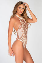 Load image into Gallery viewer, NUDE HALTER SEQUIN MESH SIDE SWIMSUIT