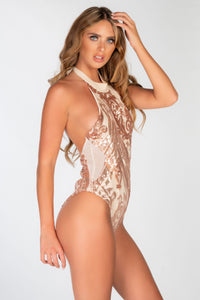 NUDE HALTER SEQUIN MESH SIDE SWIMSUIT