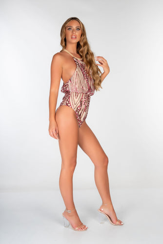PINK BAGGED HALTER SEQUIN CUT OUT BACK SWIMSUIT