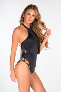 BLACK STRAPPY HIGH NECK FRINGE SWIMSUIT