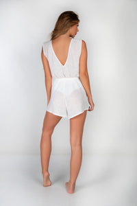 SAMPLE - WHITE LINED SEQUIN V FRONT & BACK PLAYSUIT