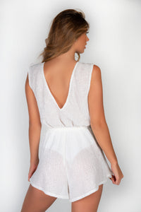 WHITE SEQUIN V FRONT & BACK PLAYSUIT