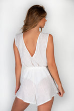 Load image into Gallery viewer, SAMPLE - WHITE LINED SEQUIN V FRONT & BACK PLAYSUIT
