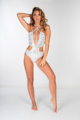 SILVER JEWEL TRIM ANIMAL SEQUIN SWIMSUIT