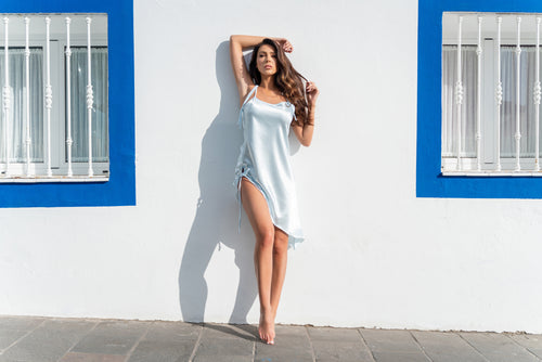 PALE BLUE CRYSTAL BUCKLE SLIP DRESS