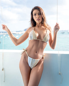 NUDE SEQUIN 3 PANEL STRING BIKINI