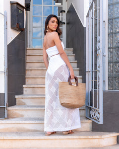 WHITE LUXE CROCHET BANDEAU & MAXI SKIRT CO ORD