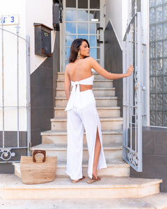 OFF WHITE LUXE RIB BANDEAU & TROUSER CO ORD SET