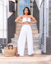 Load image into Gallery viewer, OFF WHITE LUXE RIB BANDEAU & TROUSER CO ORD SET
