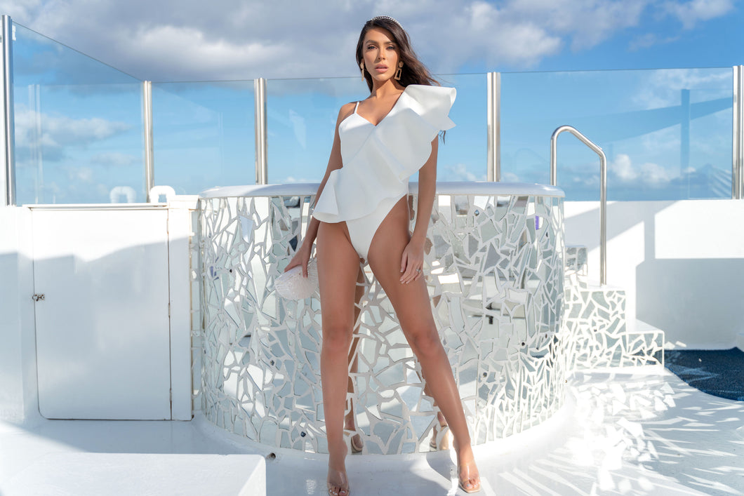 PREMIUM WHITE ASSYMETRICAL RUFFLE SWIMSUIT